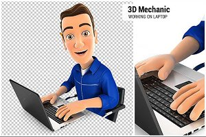 3D Mechanic Working on Laptop