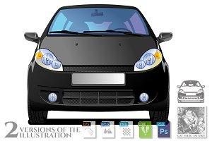 Black Car. Front view.