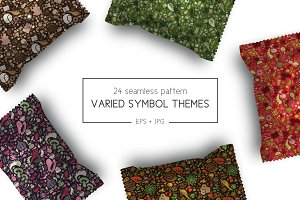 Varied symbols seamless pattern