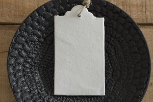 Blank tag,on black plate