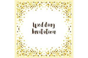 Luxury wedding card templates with golden glitter confetti
