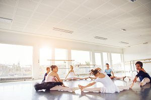Group of girls doing string exercise in ballet class