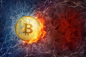 Golden bitcoin coin hard fork in fire flame, lightning and water splashes.