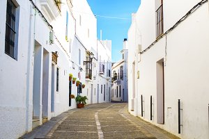 Typical street in Vejer, Spain.