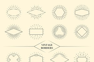 Vintage beauty sun rays borders