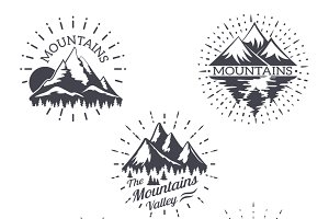 Mountain sketch vector logo set