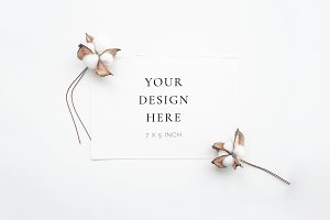 Cotton Flower Stationery Mockup