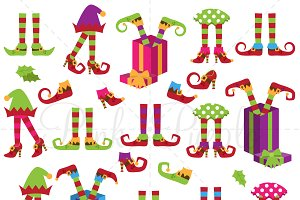 Christmas Elf Legs Clipart & Vectors