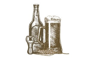Beer Hand Draw Sketch. Vector
