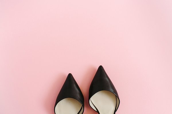 High heels on pink background