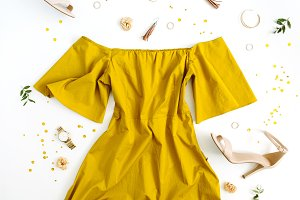 Fashion look with yellow dress