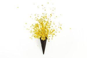 Waffle cone with golden confetti
