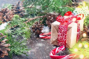 Christmas dift box with red ribbon