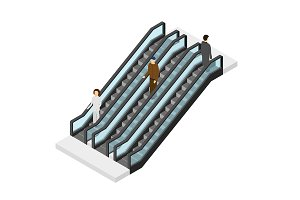 Escalator with People Isometric View