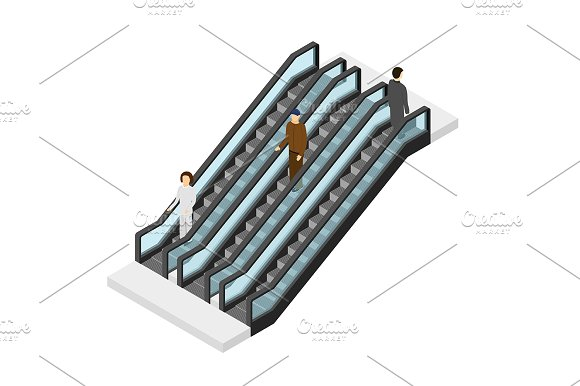 Escalator With People Isometric View Illustrations Creative Market