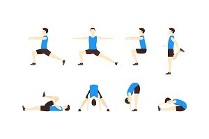 Stretching Exercise Set Man Flat.
