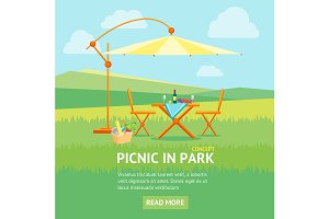 Summer Picnic in Nature Flat. Vector