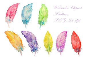 Watercolor Feathers Clipart