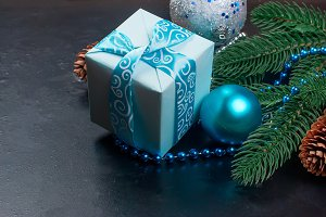 Christmas backgroung blue color