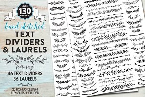 Hand Drawn Text Dividers & Laurels
