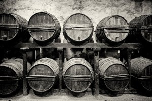 Barrels stacked in the winery