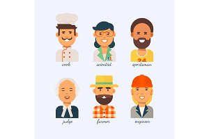 People of different professions on a white background.The engineer,the judge,the sportsman, the scientist,the cook,the farmer.Group people various professions labor day