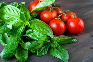 Tomatoes and green basil