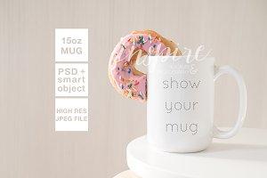 15oz Ceramic Mug Mockup + Donut PSD