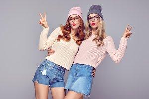 Playful Hipster Girls Having Fun