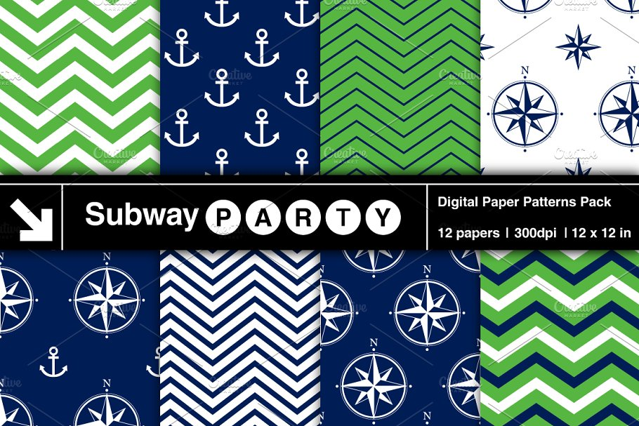 Nautical Navy & Green Papers v1 in Patterns - product preview 8