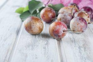 Fresh ripe pink plums