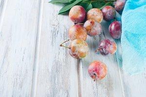 Fresh pink plums