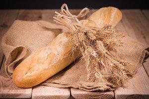 bread wheat wood burlap