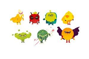 Fruit and berry hero, superhero characters, guards