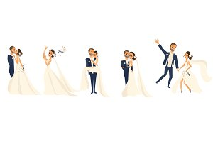 Happy wedding couple set, cartoon bride and groom