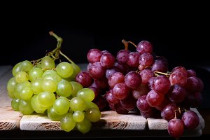 still life of bunches of red grapes