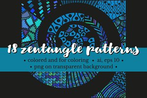 Set of zentangle patterns