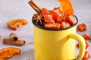 candied pumpkinin cup with spicies