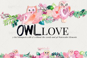 OWL Love Watercolors