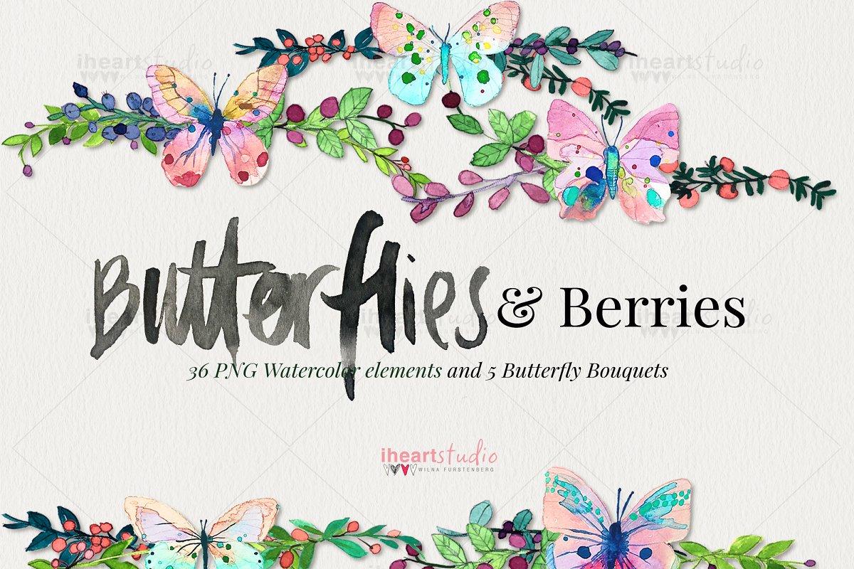 Butterflies & Berries Watercolors in Illustrations