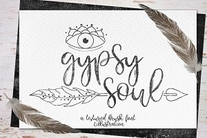 Gypsy Soul.Textured Brush Font+bonus