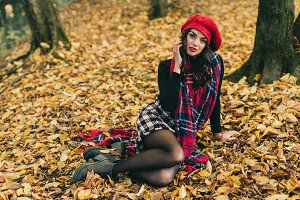 A beautiful woman in autumn