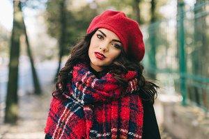 A beautiful woman in autumn