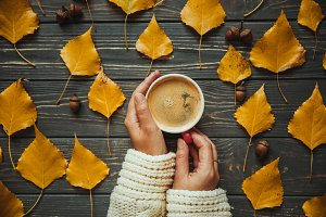 Hot autumn coffee mood