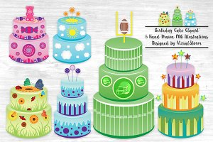 Birthday Party Cake Illustrations