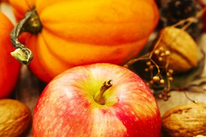 Autumn pumpkins and apples