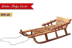Wooden Sledge retro style, Vector
