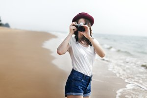 Woman Travel Photographing Beach