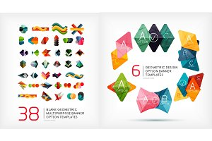 Paper geometric banner templates