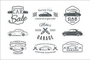Vintage, classic car service labels
